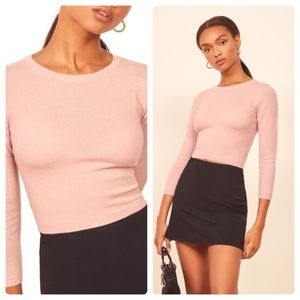 Reformation NWT Jane Cashmere Pink Sweater L